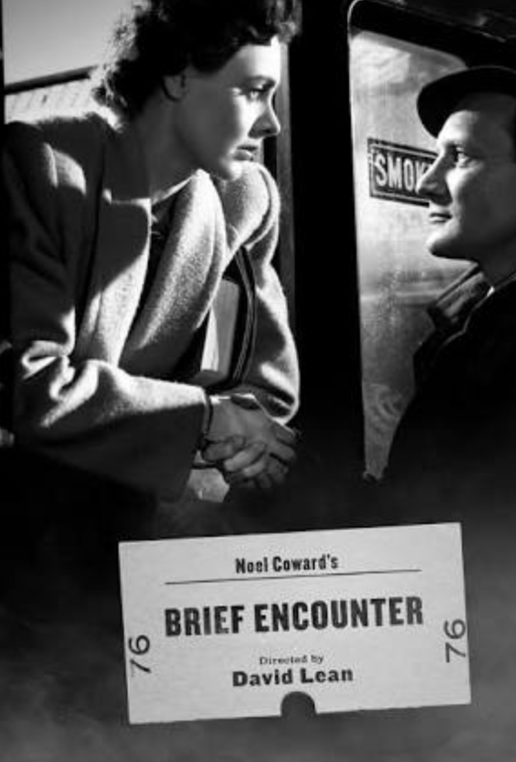 Image is a poster of the movie Brief Encounter. It shows a woman in a train window gazing into the eyes of a man standing on the station's platform.